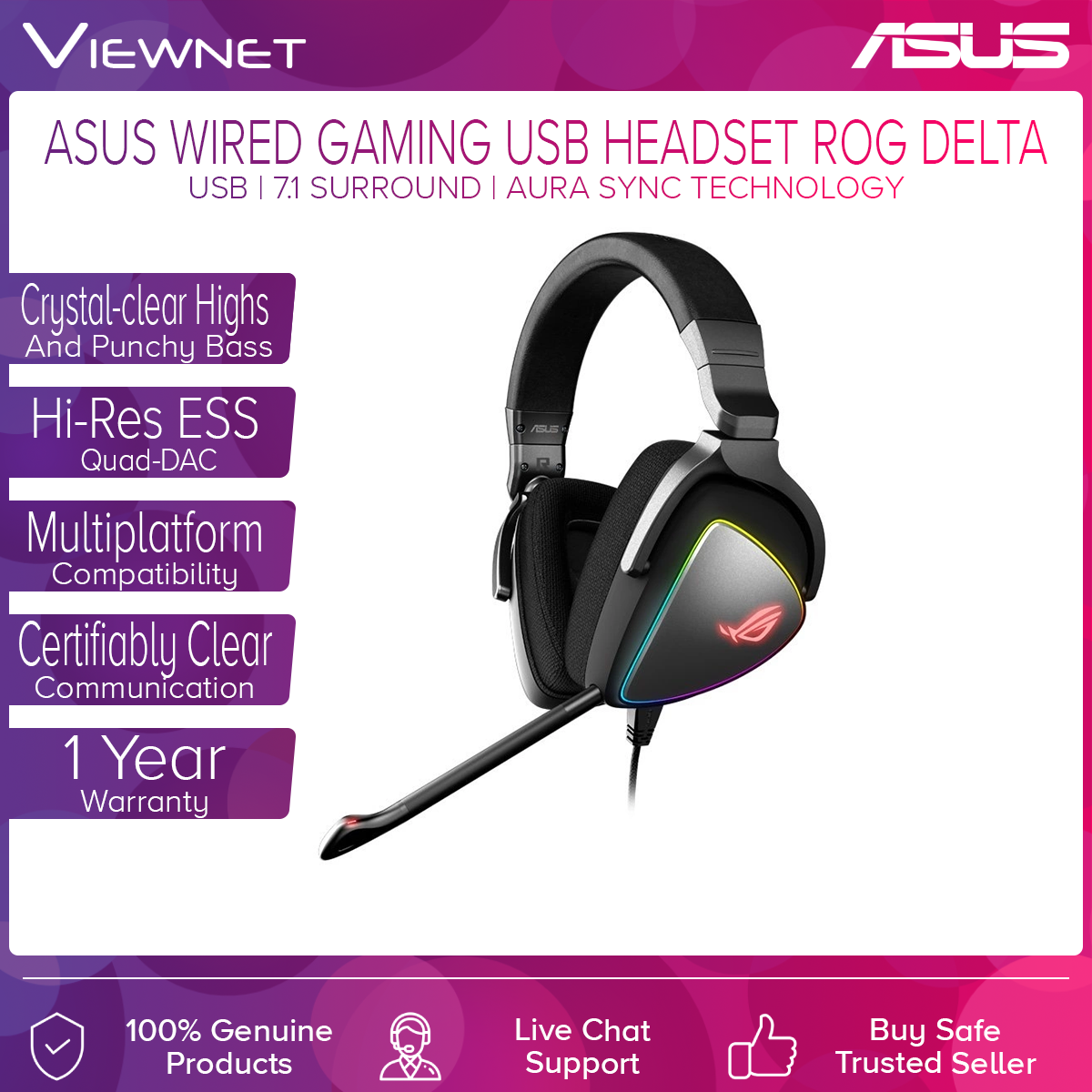 Asus ROG Wired Gaming Headset ROG Delta with USB, 7.1 Surround, Asus Aura Sync Technology, Crystal-clear Highs And Punchy Bass, Hi-Res ESS Quad-DAC, Multiplatform Compatibility, Certifiably Clear Communication