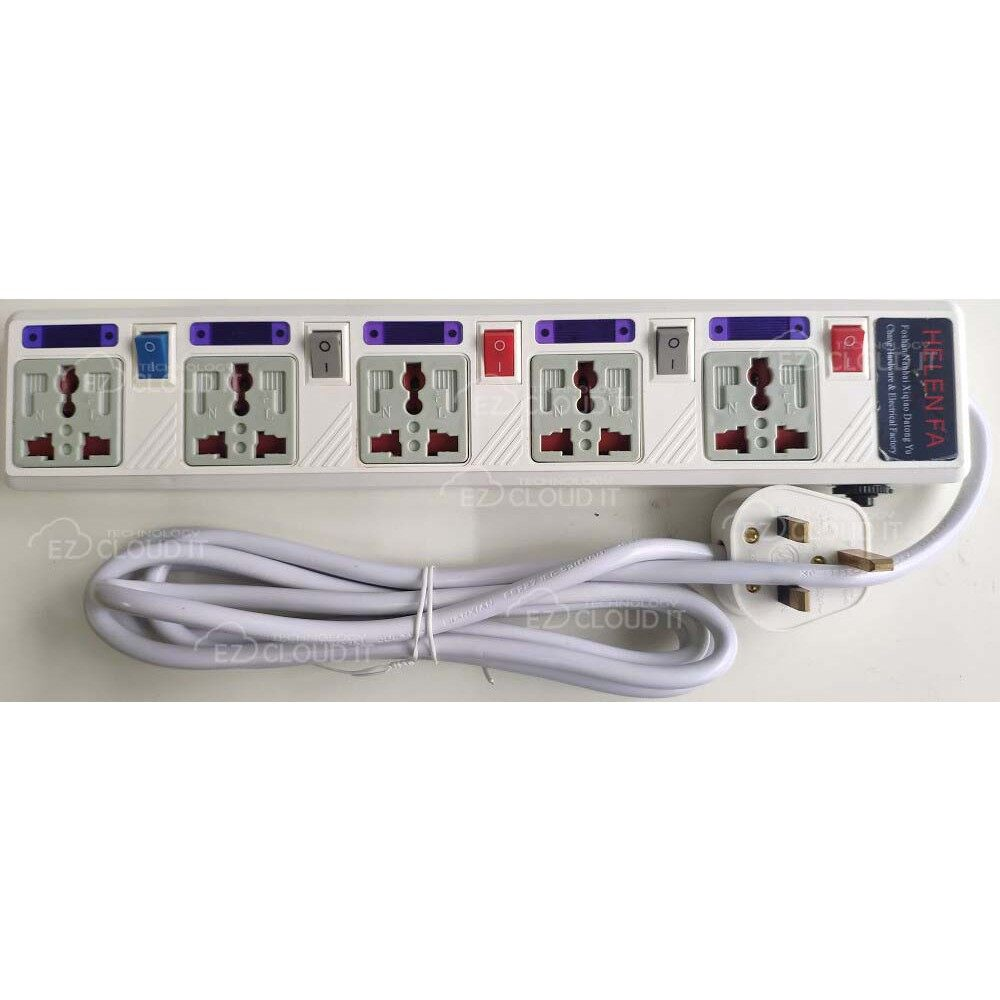 5 GANG UNIVERSAL EXTENSION SOCKET 2.5M CABLE