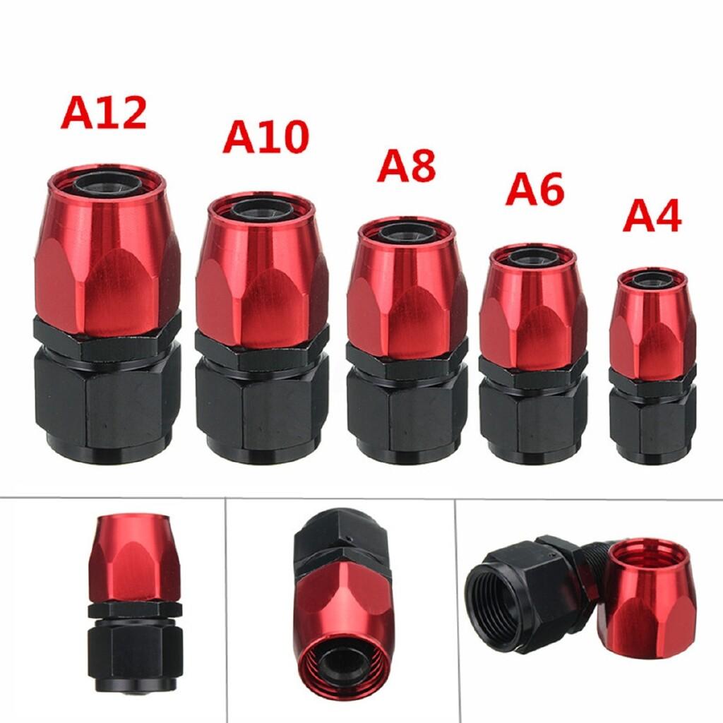 Moto Accessories - AN4/6/8/10/12 Straight Swivel Black Red Oil/Fuel/Air/Gas Line Hose End Fitting - AN12 / AN10 / AN8 / AN6 / AN4
