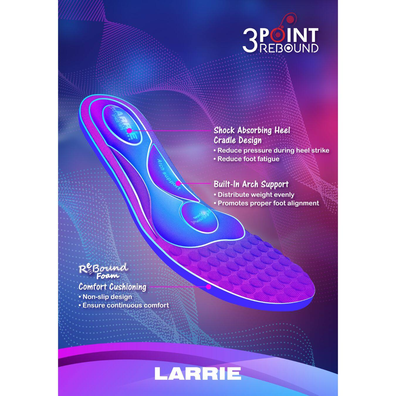LARRIE Women Extra Cushion Insole Arch Support Multi Purpose Insoles - A2002-BK01