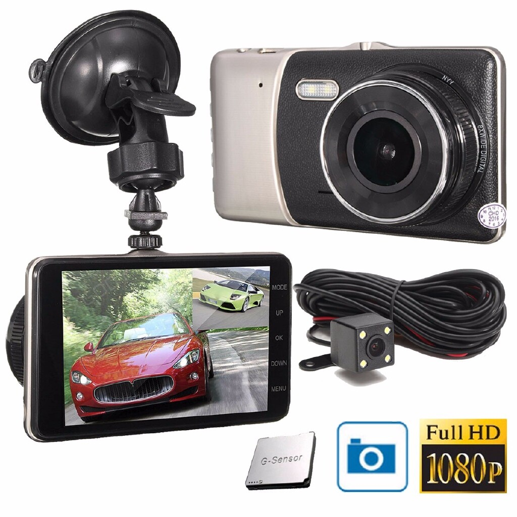 Car Lights - 4'' HD 1080P Car DVR Dual Lens Camera Video Recorder Rearview Dash - Replacement Parts