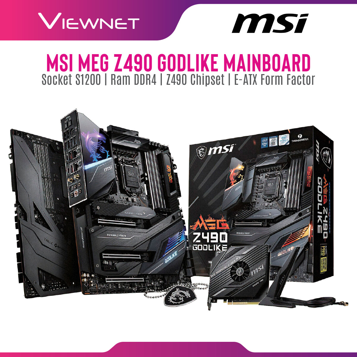 Msi MEG Z490 GODLIKE Mainboard, Supports 10th Gen Intel® Core™, 11th Gen Intel® Core™, Pentium® Gold and Celeron® processors for LGA 1200 socket, Supports DDR4 Memory, up to 5000(OC) MHz