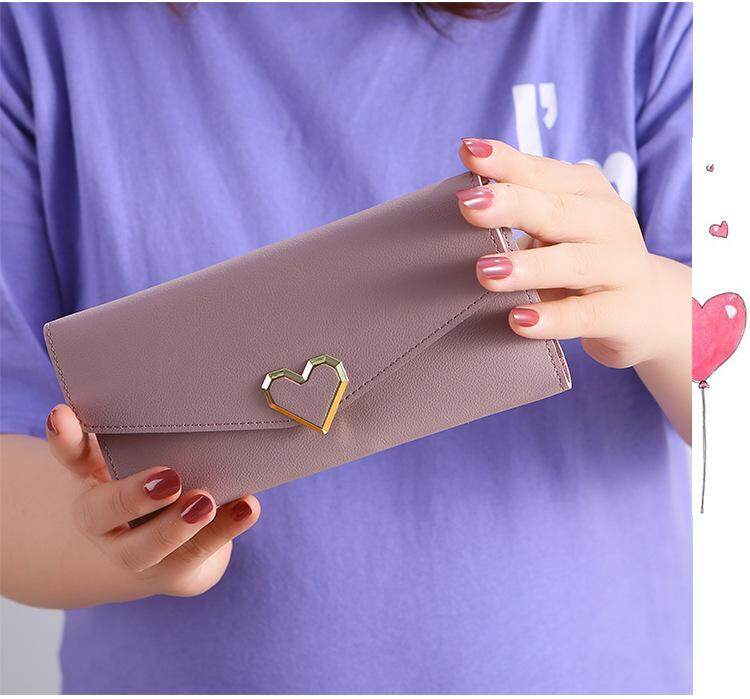 Women Ladies Flap Fold Over Wallet Purse Long Wallet Dompet Panjang Love Shape. Ready Stock