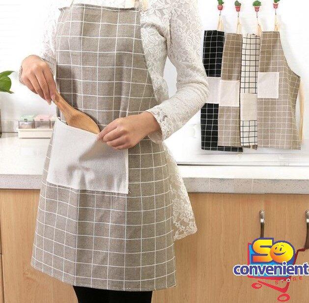 Korean style Kitchen Household Anti Oil Cotton Apron #Grey Plaid
