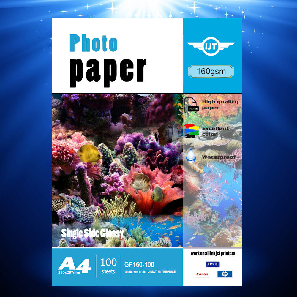 Glossy Photo Paper A4 Size 160g 160gsm 100's (Each Pack 100 Sheets) I JIMAT