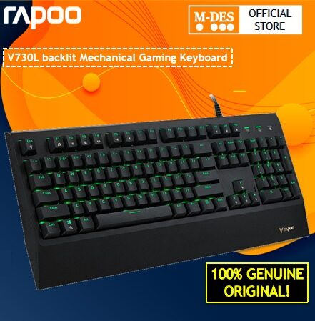 Rapoo V730L Gaming Waterproof Backlit Mechanical Keyboard with Mechanical key switch Opitcal Responsive switch