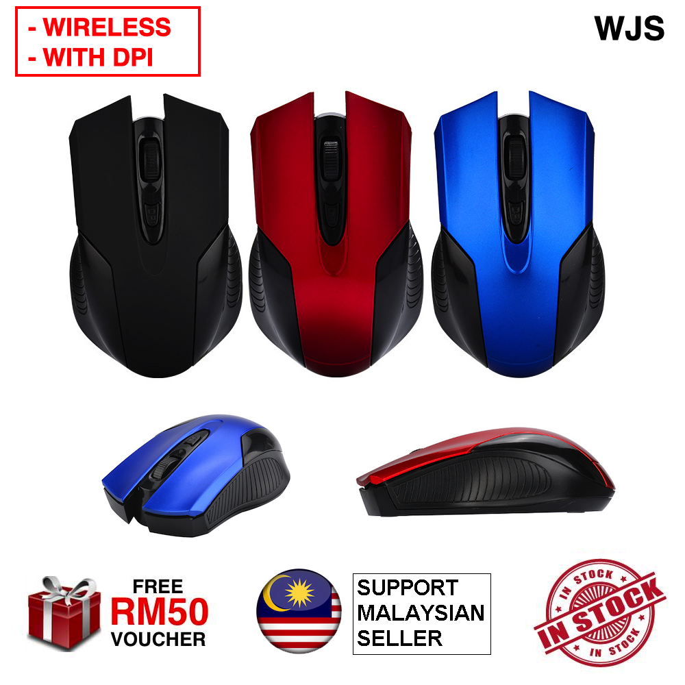 (DPI MOUSE) WJS 2.4Ghz Mini Portable Wireless Optical Gaming Mouse Wireless Mouse DPI Mouse Office Mouse Professional Mouse USB Mouse Wired Mouse Tetikus BLACK BLUE RED SILVER [FREE RM 50 VOUCHER]