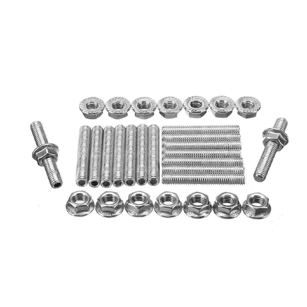 Exhaust - 16 PIECE(s)/ SET Stainless Exhaust Manifold Stud Kit For Ford 4.6L 5.4L V8 2 Manifolds - Car Replacement Parts