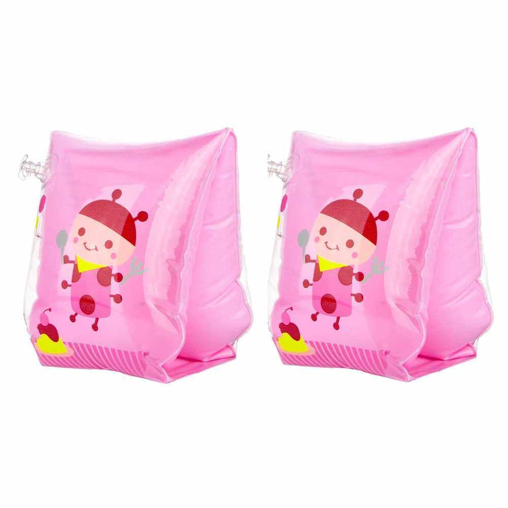 2PCS Swim Arm Bands Rollup Arm Sleeve Cute Swimsuit Thickened Life Buoy Lovely Swimming Rings Tube A Pair for Kids and Adult (Pink) (Pink)
