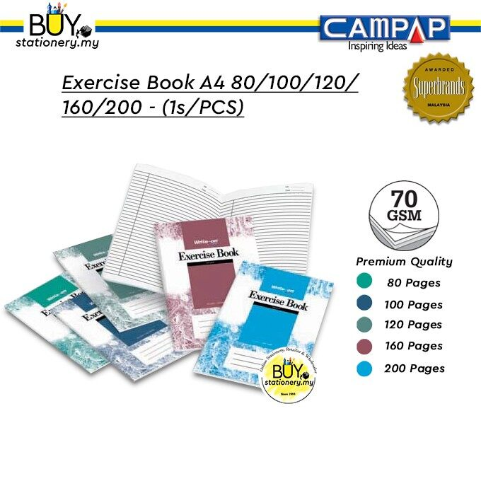 Campap Write-On Series Exercise Book A4 80/100/120/160/200 - (1s/PCS)