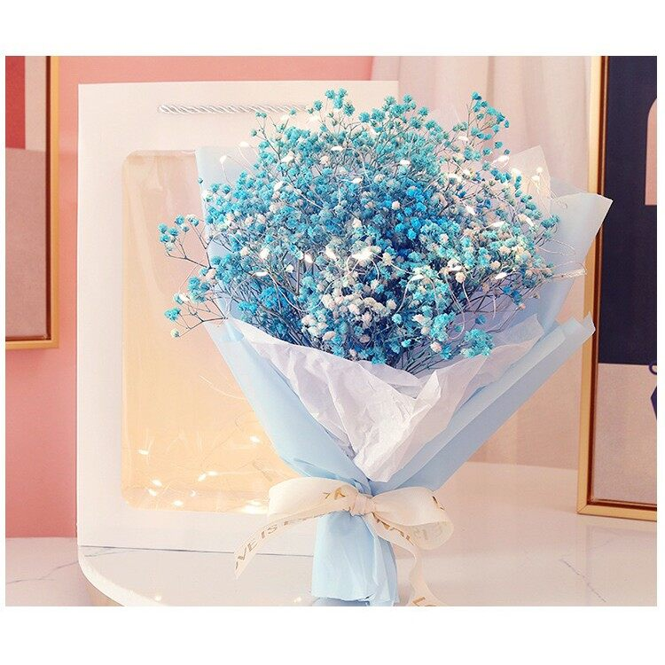 Preserved 100% Real Baby Breath Bouquet Flower Gift bag+LED  Valentine   Birthday   Anniversary   Mother's Day 永生满天星花束