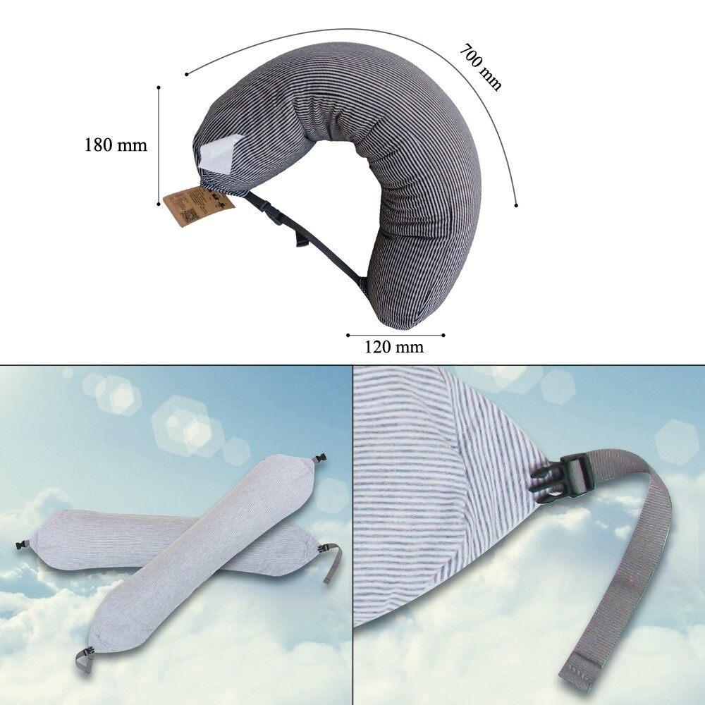 Cookware - U Shaped Foam Particles Travel Neck Pillow Health Care Headrest - DARK GREY / PINK / GREY