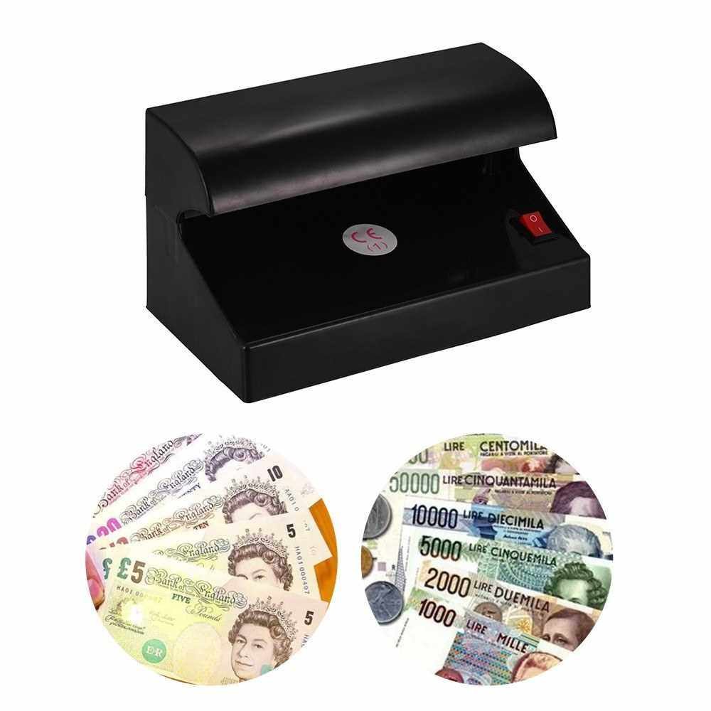 Portable Desktop Multi-Currency Money Detector Counterfeit Cash Currency Banknote Checker Tester Single UV Light with ON/OFF Switch for EURO POUND (Black)