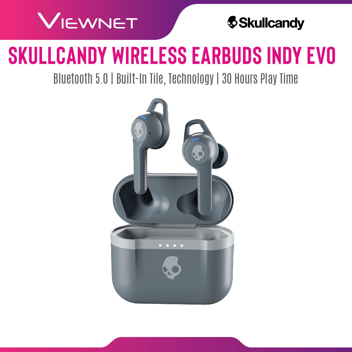 """Skullcandy Wireless Earbuds Indy Evo with Bluetooth 5.0, Built-in Tileâ""""¢ Technology, 30 Hour Play Time, IP55 Sweat Resistant, Water Resistant And Dust Resistant, 3 EQ Modes (Music, Movie, Podcast)"""