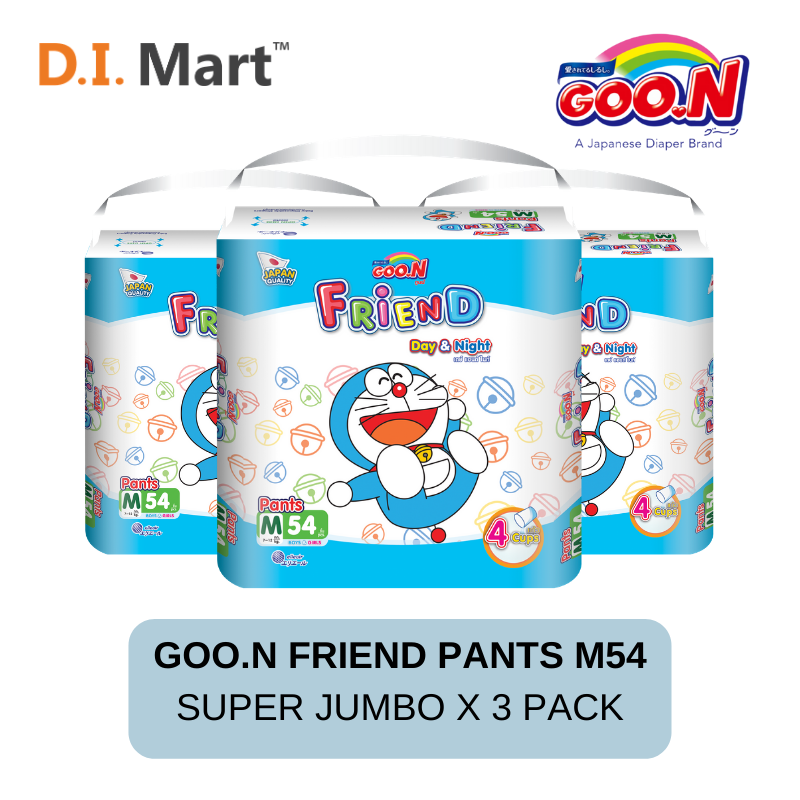Goo.N Friend Pants Diapers Super Jumbo M Size 54pcs x3 Pack