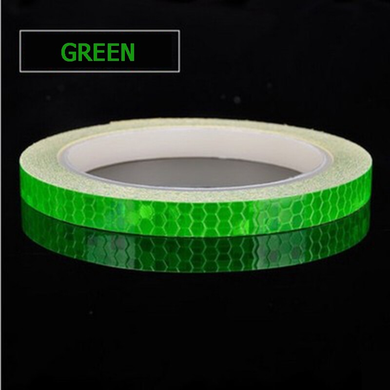 Moto Accessories - 8m1cm Fluorescent Bike Reflective Stickers MTB Road Cycling Motorcycle Wheel Tire Strip Decal Tape - YELLOW / BLACK+ORANGE / WHITE / RED+WHITE / PURPLE / BLUE / GREEN / RED