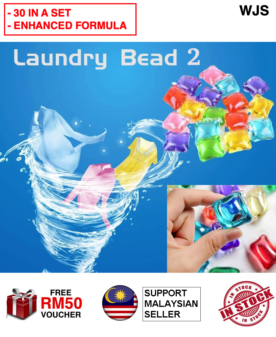 (2ND GENERATION) WJS 30pcs 30 pcs Enhanced Version Laundry Bead 2 Laundry Beads II Cleaning Fragrant Perfume Liquid Gel Soap Packets Washing Machine Cloth Cleaner Cloth Perfume Laundry Aroma MULTICOLOR [FREE RM 50 VOUCHER]