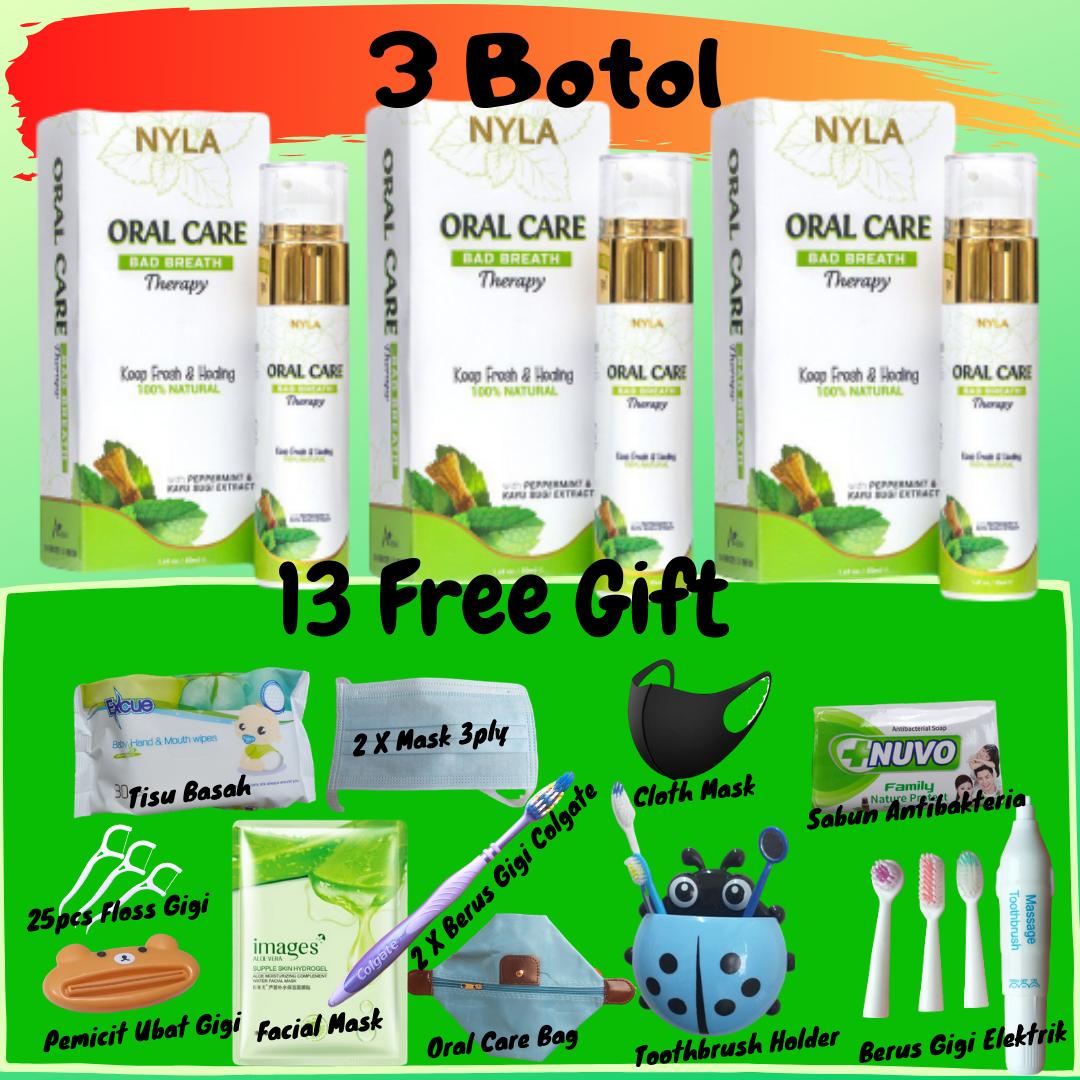 ??[13 Free Gift] 3 Oral Care? Merawat Bau Mulut Bengkak Gusi Berdarah Sakit Gigi Putih Tanpa Bahan Kimia