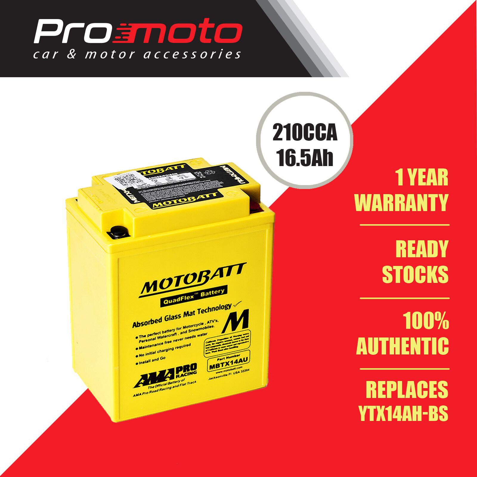 Motobatt Quadflex Battery MBTX14AU (FOR KAWASAKI, HONDA, DUCATI, APRILIA & etc) (Replaces YTX14AH-BS)
