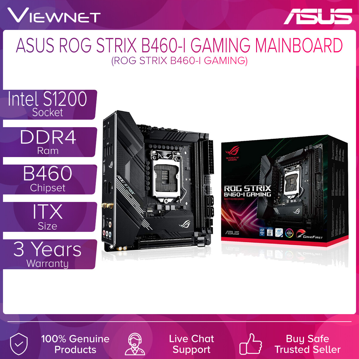 Asus ROG Strix B460-I Gaming motherboard features solid power delivery and effective cooling designed to handle the latest 10th Generation Intel Core processors, With its arresting futuristic aesthetic and intuitive ROG software