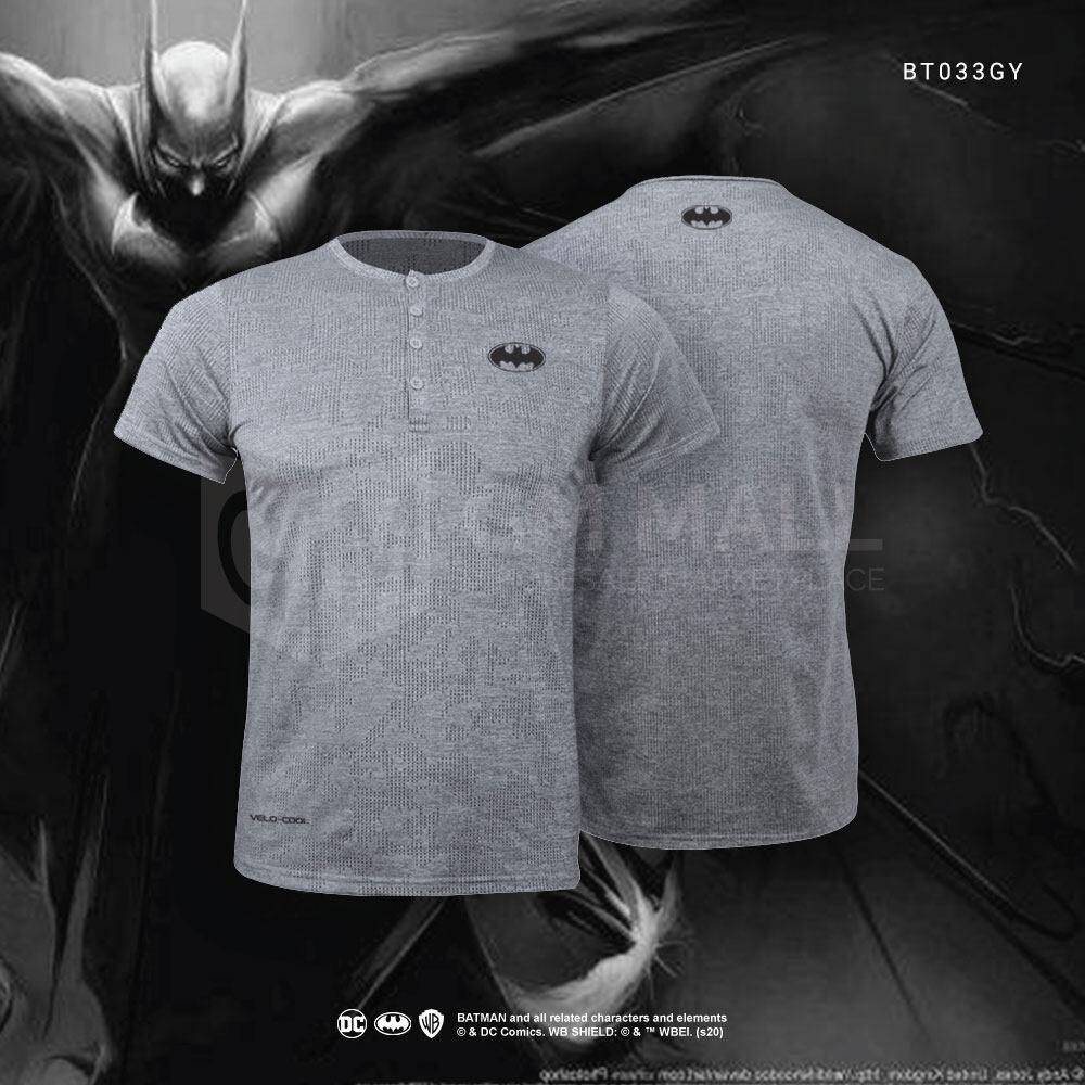 BATMAN DC Exclusive Unisex Grey Sport Tee Simple Logo No Collar Short Sleeve – Casual Sport Gym Training Running Wear Short Sleeve [BT033GY]