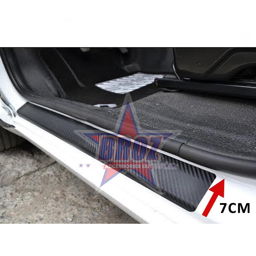 6D Carbon Fiber Car Sticker Door Sill Cover Panel Step Protector Auto Bumper Grills Anti-collision Decoration Strip Sticker (1 metre)