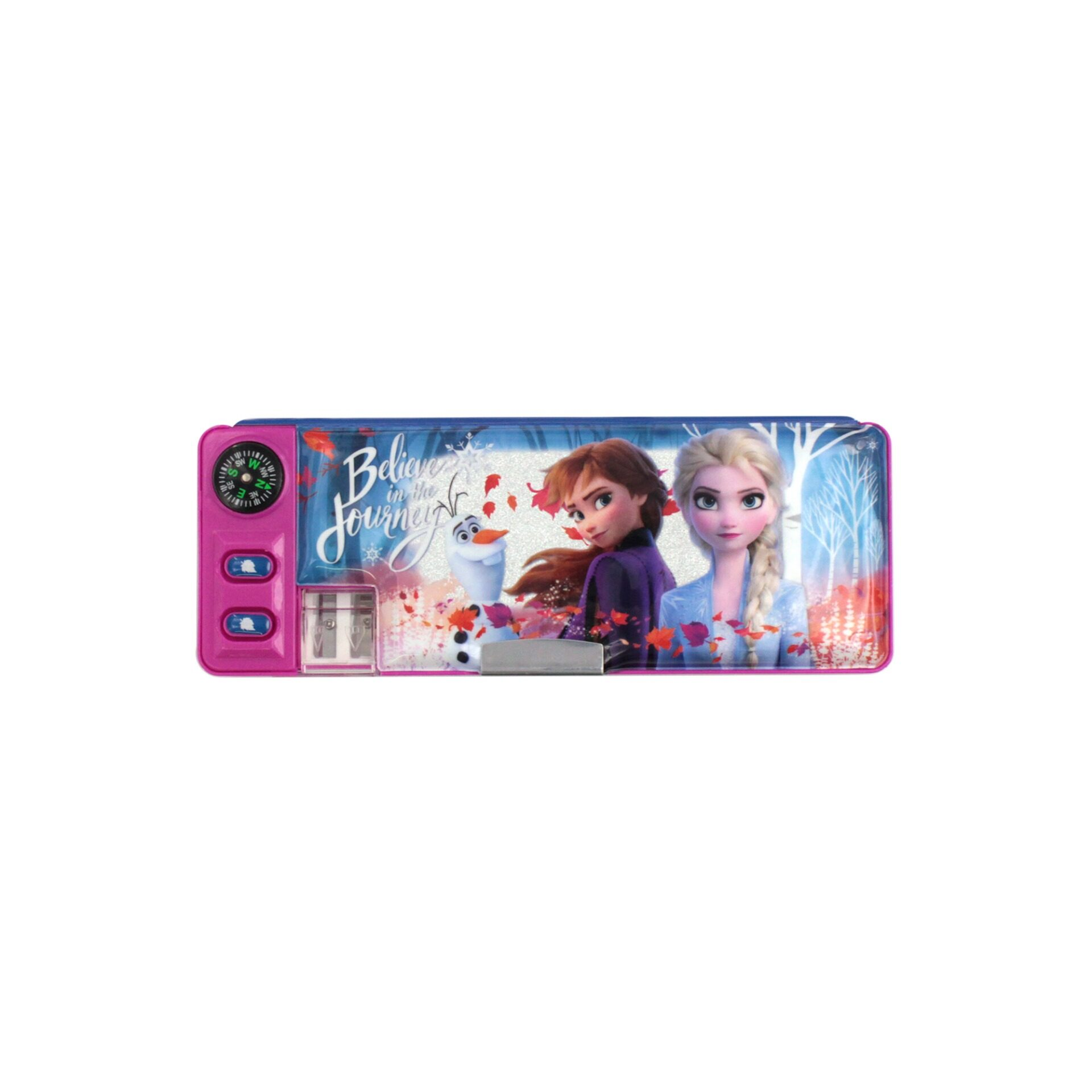 Frozen 2 Princess Elsa Anna & Olaf 2 Way Compartment With Built-In Sharperner & Compass Children School Stationery Magnetic Pencil Case