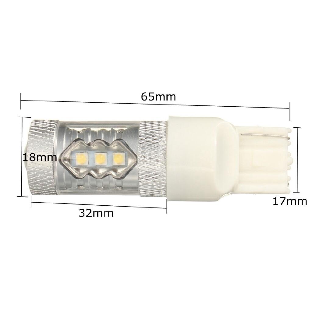 Car Lights - Uinversal 80W LED 7443 7440 7000KWhite Reverse Bulb Tail Brake Backup Light Lamp - Replacement Parts