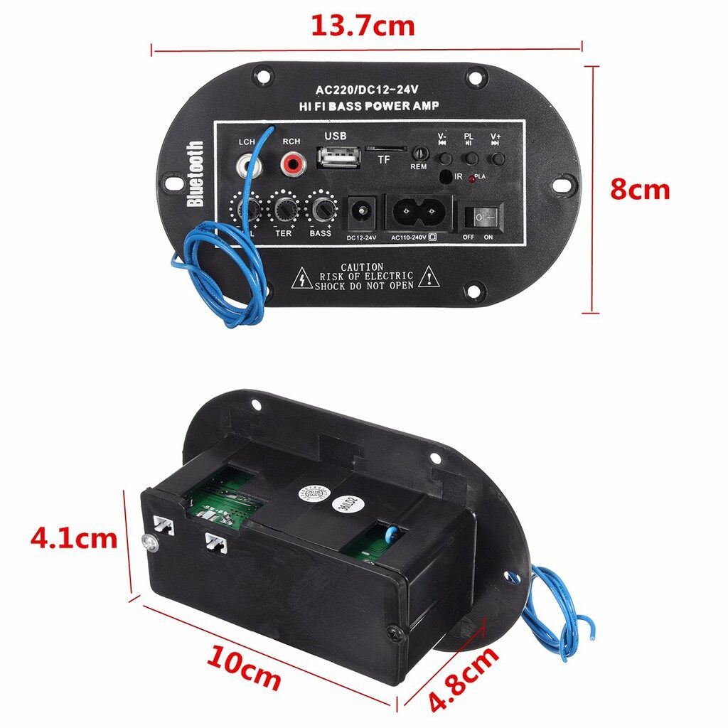 Car Multimedia Players - 220V/12V/24V 50W Car BLUETOOTH Subwoofer Hi-Fi Bass Amplifier Board Audio TF USB - Electronics