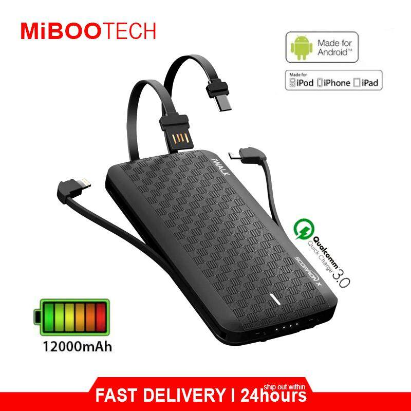 [Miboo] iWALK 12000mAh Built-in Type-C Lightning Micro USB Cable Quick Charge 3.0 Portable Slim External Battery Pack Power Bank Charger Powerbank For Born For IPhone Huawei Samsung 1 Year Warranty by iWalk - Black