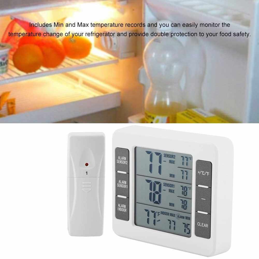 Wireless Digital Refrigerator Thermometer Audible Alarm Indoor Outdoor Thermometer with Sensor Freezer Thermometer Min/Max Temperature Record (White)
