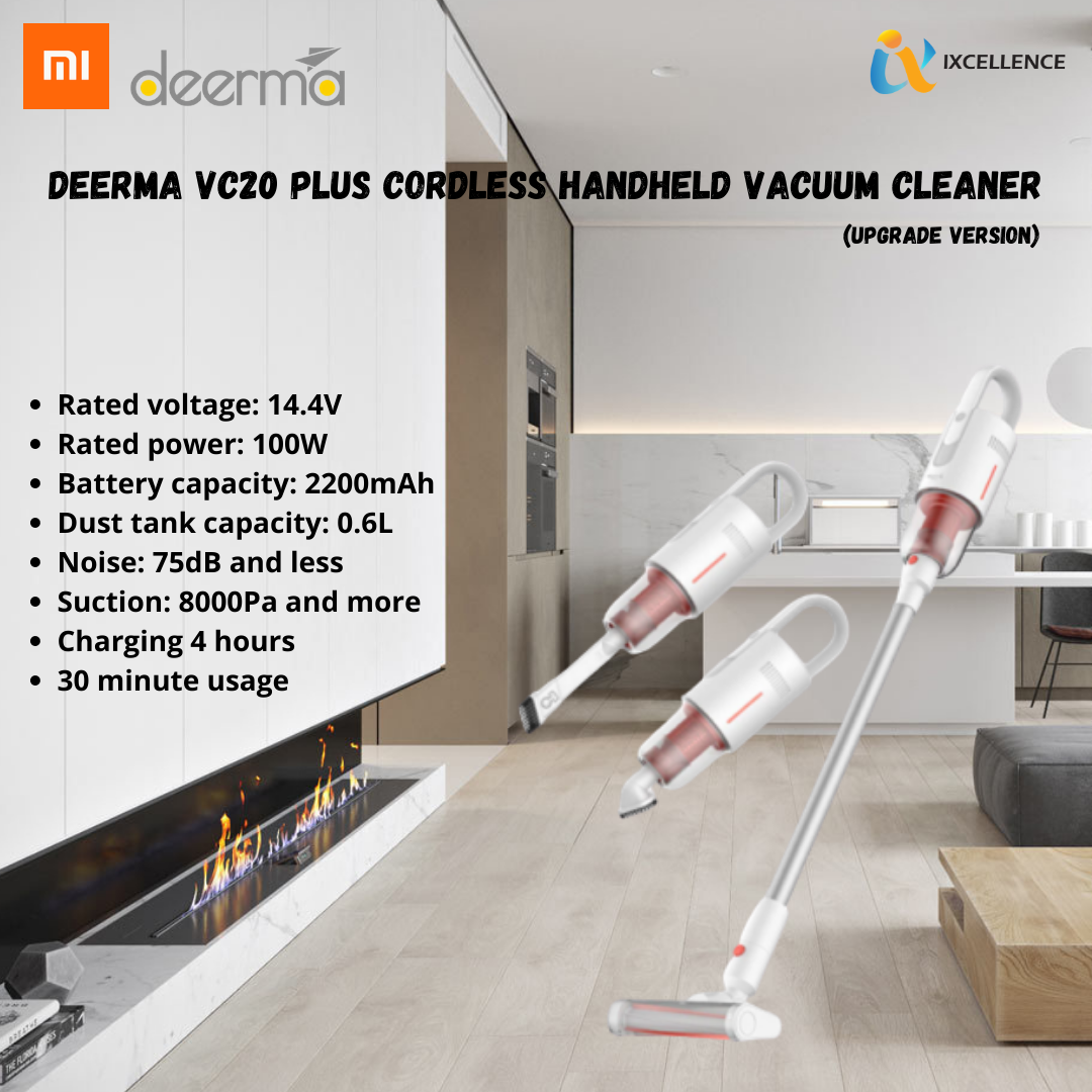 Deerma VC20 Plus Cordless Handheld Vacuum Cleaner 150W 8000Pa Suction 35000rpm 2200mAh Long Battery Life
