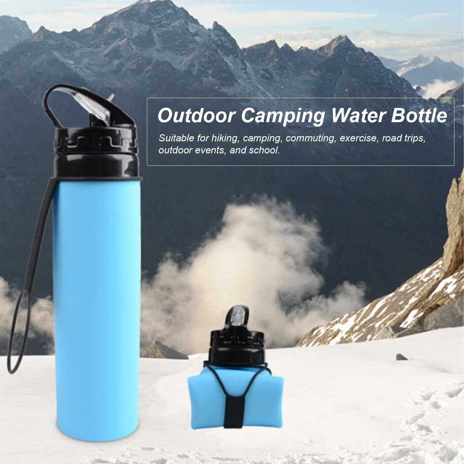 600mL Collapsible Water Bottle Foldable Water Bottle Silicone Lightweight Leak Proof BPA Free Bottle for Hiking Travel Outdoor Sports (Red)