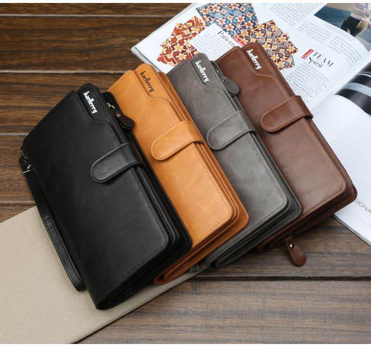 [M'sia Warehouse Direct] 2020 Korean Series Men's Leather Clutch Bag With String Fengshui Long Wallet Can Fit Iphone Any Android Mobile Long Purse Perfect Gift For Love One Multifunctional Portable Bag Card Holder Dompet Panjang Kulit Halal