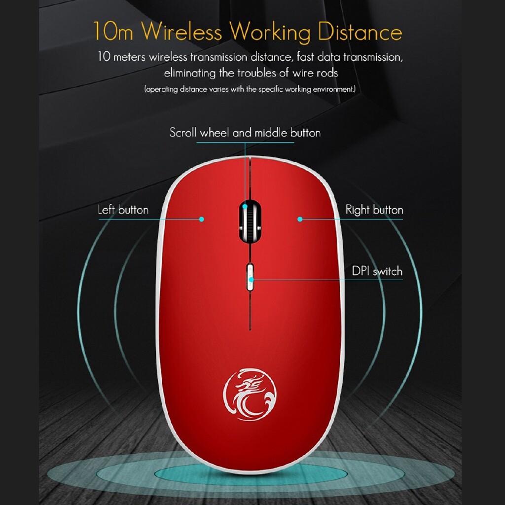 Computer Mouse - 800/1200/1600DPI 2.4G WIRELESS Silent Mouse For Office Home w/USB Receiver - GREY / BLUE / BLACK / RED