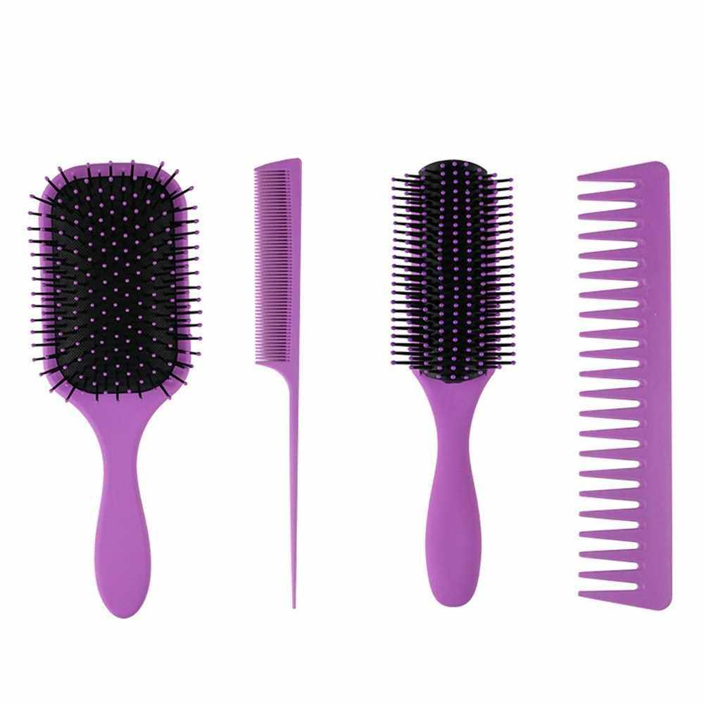 Best Selling 4Pcs Paddle Hair Brush Hair Scalp Massage Comb Set for Men and Women Wet Dry Hair Combs Hairbrush for Styling & Grooming Hairdressing Salon (Purple)