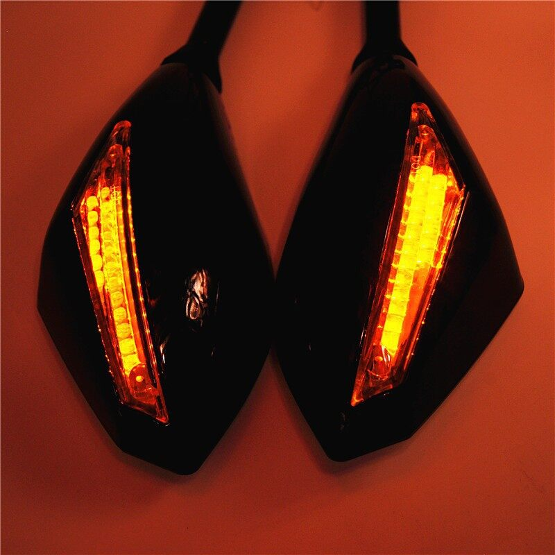 Moto Spare Parts - Pair Universal Motorcycle Indicator 10mm Rear View Side Mirrors - Motorcycles, & Accessories
