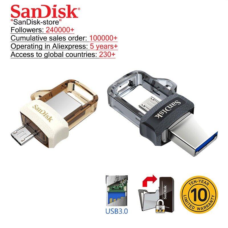 SanDisk ULTRA Dual Drive 16G/32GB/64GB/128GB m3.0 OTG USB Flash Drive for Android & - GOLD-16GB / GOLD-32GB / GOLD-64GB / GOLD-128GB / SILVER-16GB / SILVER-32GB / SILVER-64GB / SILVER-128GB