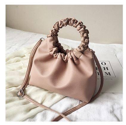 Jasmin Noir Soft PU Leather Cloud Women Tote Retro Sling Bag Fold Ring Handle Handbag