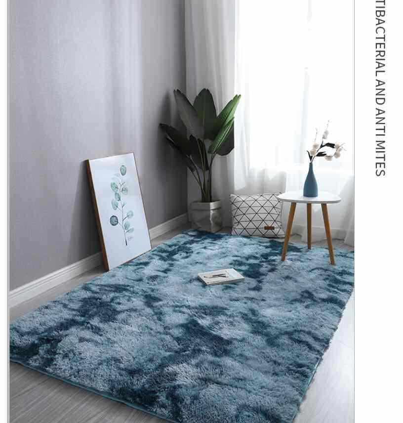 Carpet Tie Dyeing Plush Soft Floor Mat for Living Room Bedroom Anti-slip Rug