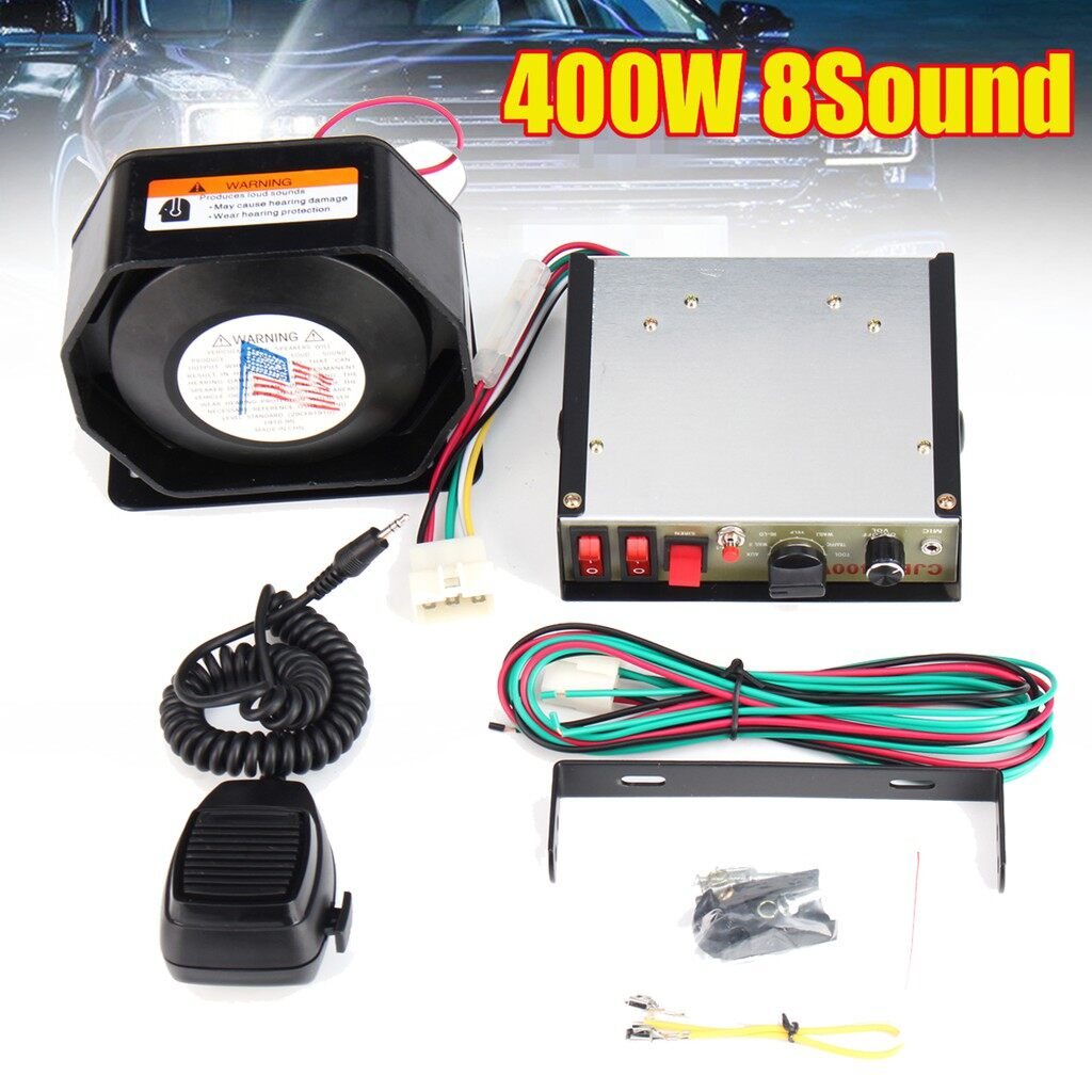 Vehicle Speakers & Subwoofers - 400W 8 Sound Loud Car Warning Alarm Fire Police Siren Horn Speaker MIC System - Car Electronics