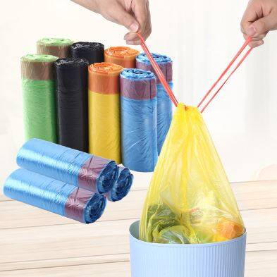 Home Garbage Cleaning Trash Office Kitchen Toilet Waste Trash 10pcs Rubbish Garbage Bags With Rope (45*50cm)