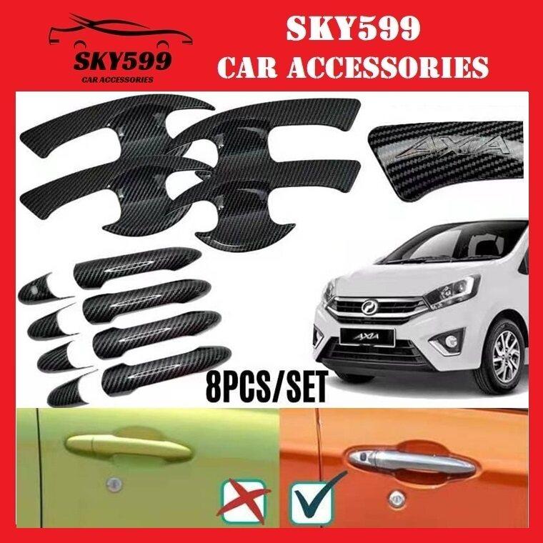 Perodua Axia 2014-2021 Door Handle Cover + Bowl Carbon 8pcs Keyless