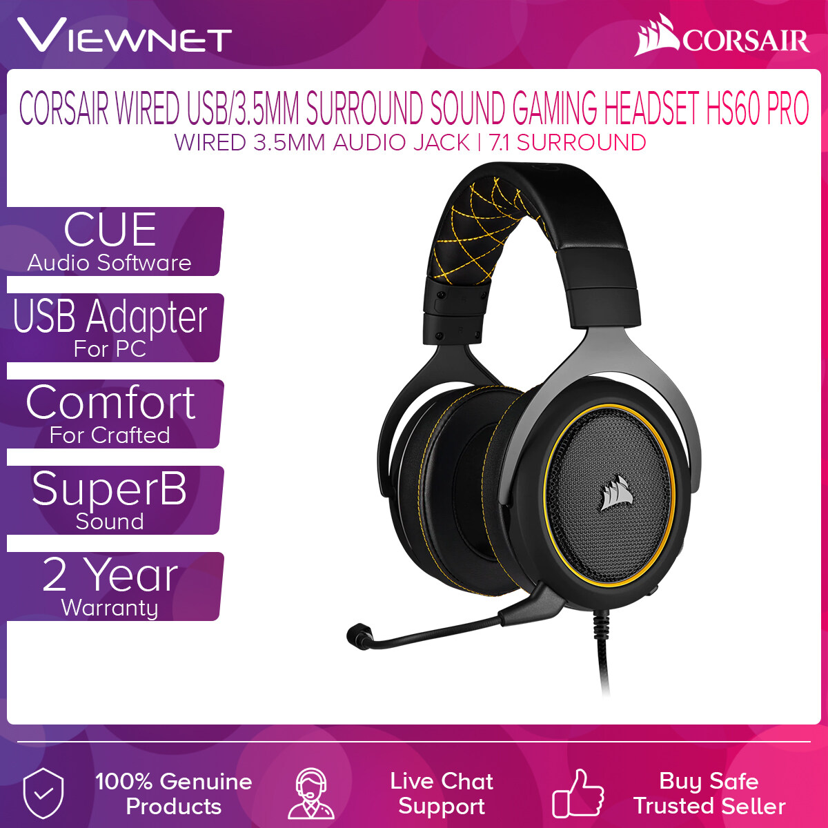 Corsair Wired USB/3.5MM Surround Sound Gaming Headset HS60 PRO with 3.1 Surround Sound, CUE Audio Software, USB Adapter For PC, SuperB Sound, Crafted For Comfort