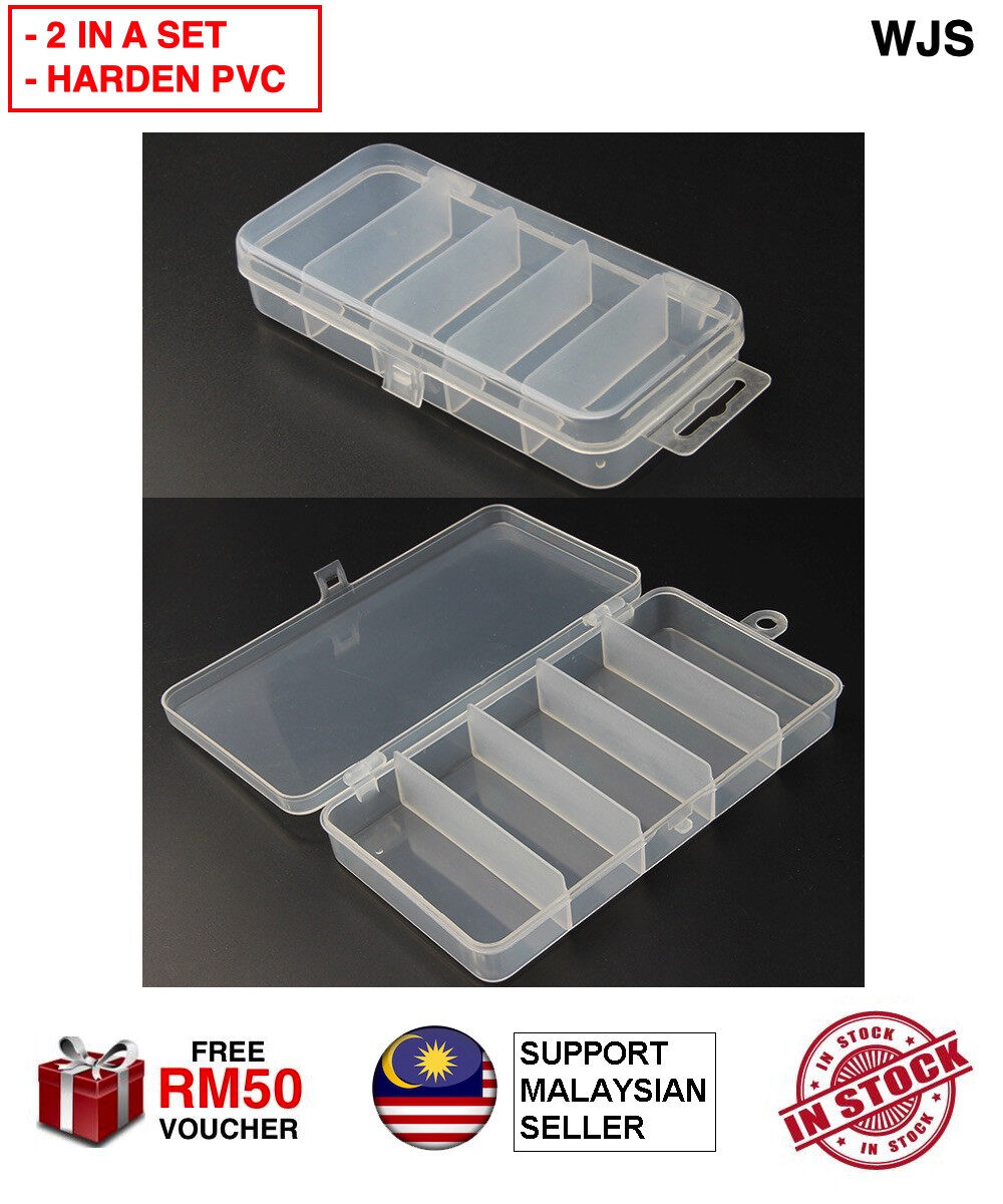 (2 IN A SET) WJS 2pcs 2 pcs Hard PVC Tool Box Case Box Fish Bait Box Earring Box Pills Box Accessories Box Ring Box Multipurpose Box with Compartment Kotak Gewang Kotak Cincin WHITE [FREE RM 50 VOUCHER]