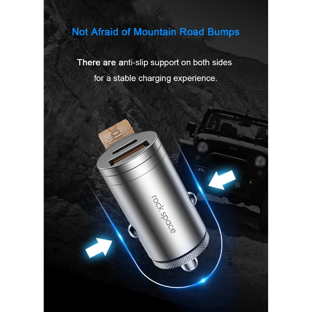 Chargers - ROCK SPACE 30W QC3.0 PD3.0 Type C + USB Ports MINI Car Charger For iPh X XS Max Xiaomi Mi9 S10 - SILVER / TWILIGHT
