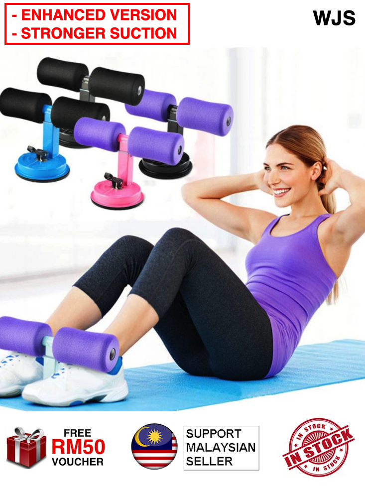 (ENHANCED VERSION) WJS Enhanced Easy Training Home Gym Exercise Fitness Suction Sit Up Aids T Bar Ads Yoga Pilate Cardio SitUp Sit-Up Abdomen Trainer Fat Burner MULTICOLOR [FREE RM 50 VOUCHER]