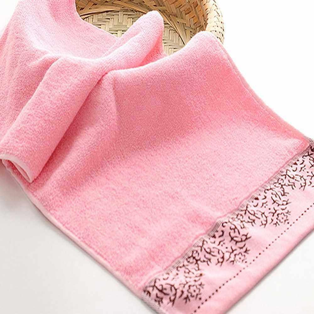 1Pcs Face Towel Cotton Jacquard Pattern Ultra Soft Highly Absorbent Towel 73*33cm (Pink)