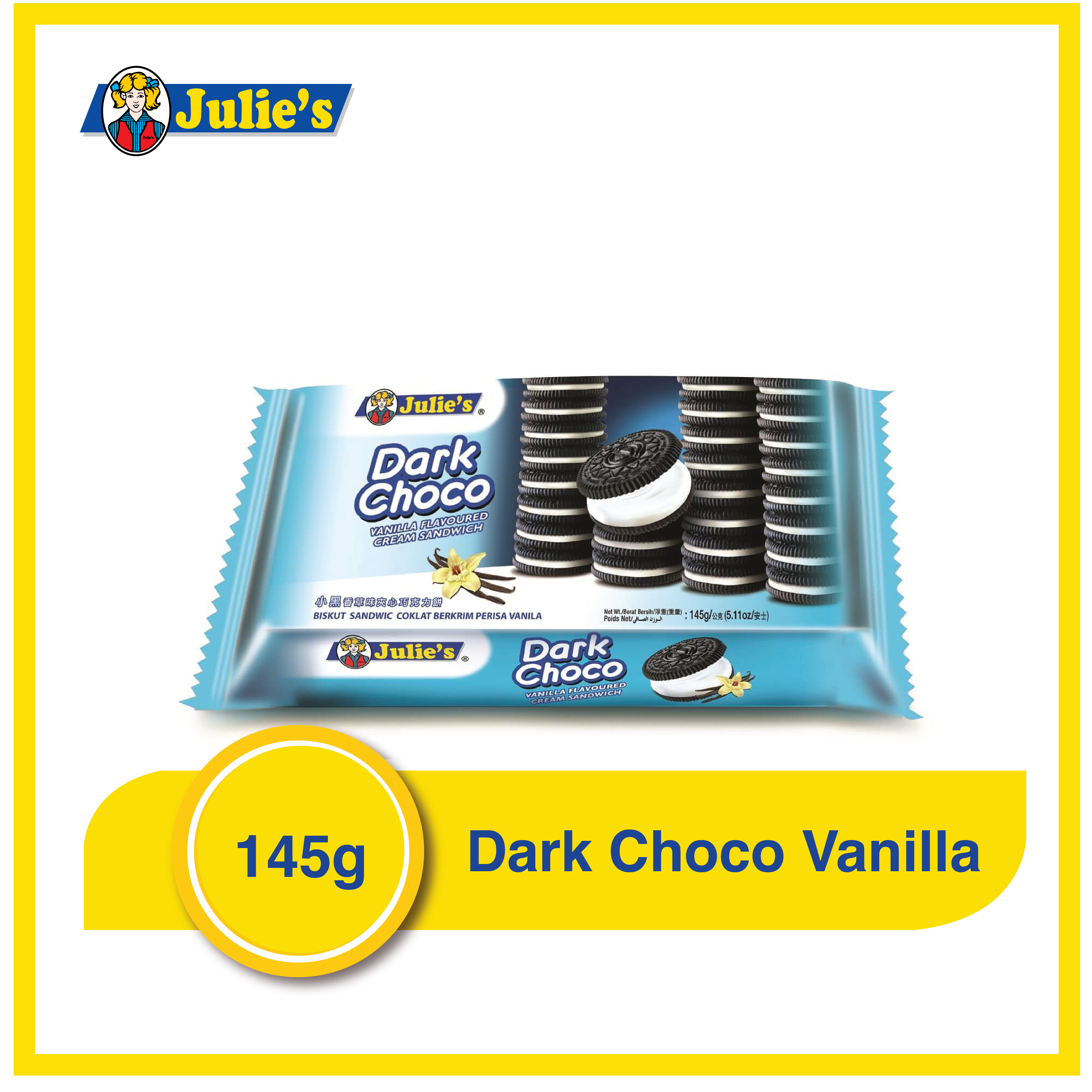 Julies Dark Choco Vanilla Flavoured Cream Sandwich 145g x 1 pack