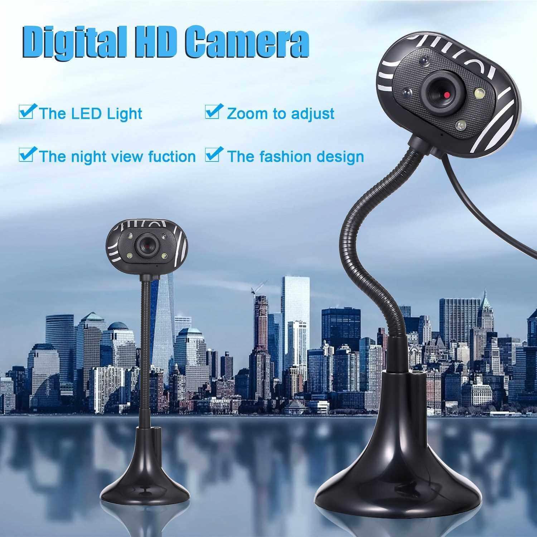 USB 2.0 Web Camera with Microphone 4 L-ED Long Hose Pole Webcam for PC Laptop Computer Desktop (Standard)